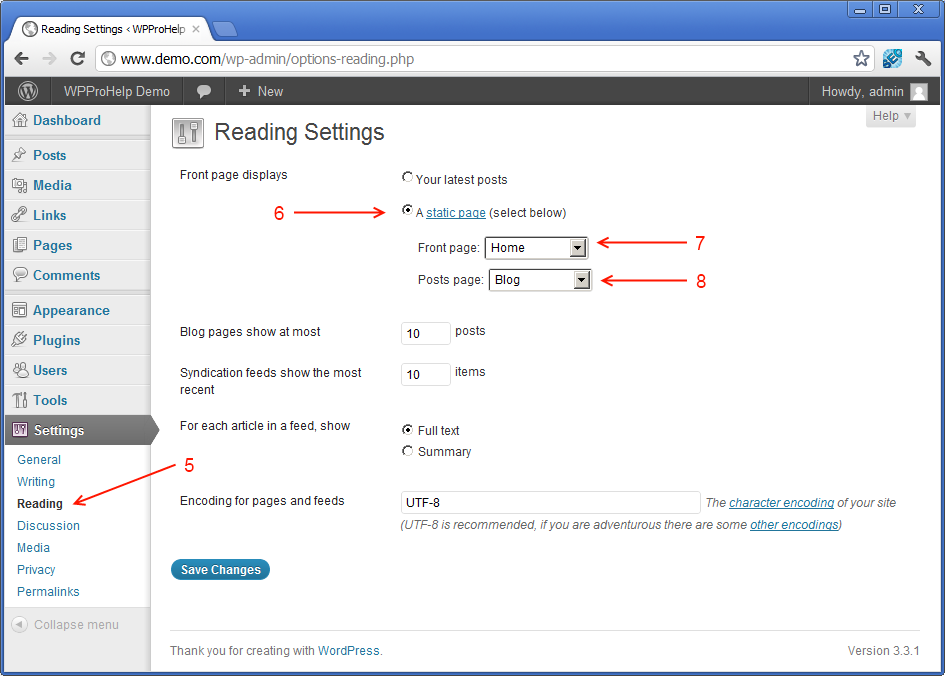 configuring WordPress to use static front page