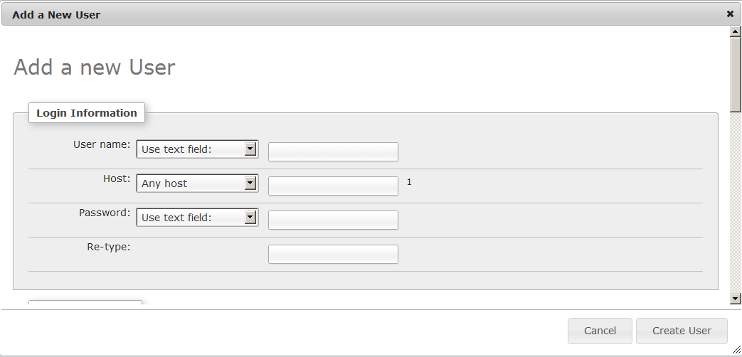 PHPMyAdmin Add a new user web interface