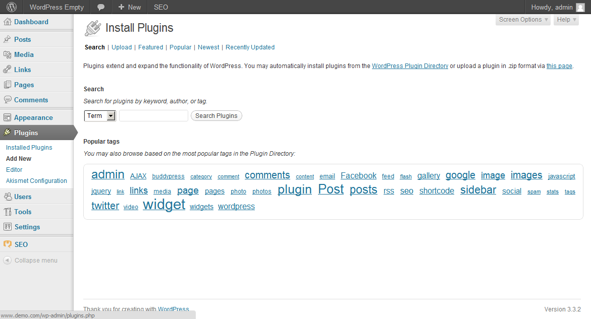 Searching for new plugins in the WordPress dashboard