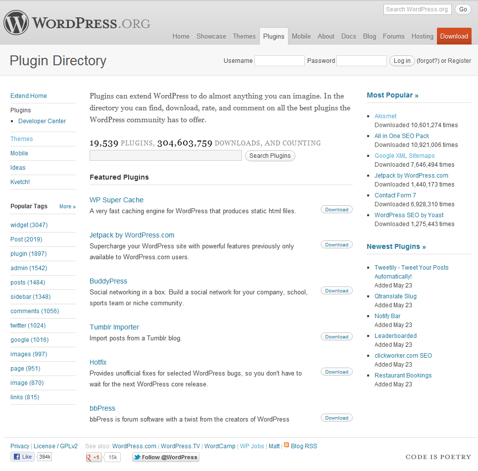 Browsing the WordPress plugin directory