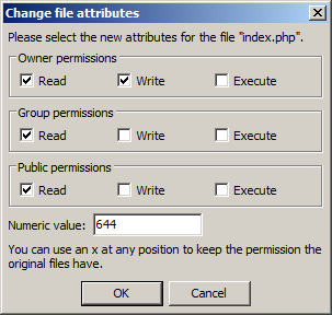 Change WordPress file permissions (CHMOD) using an FTP client