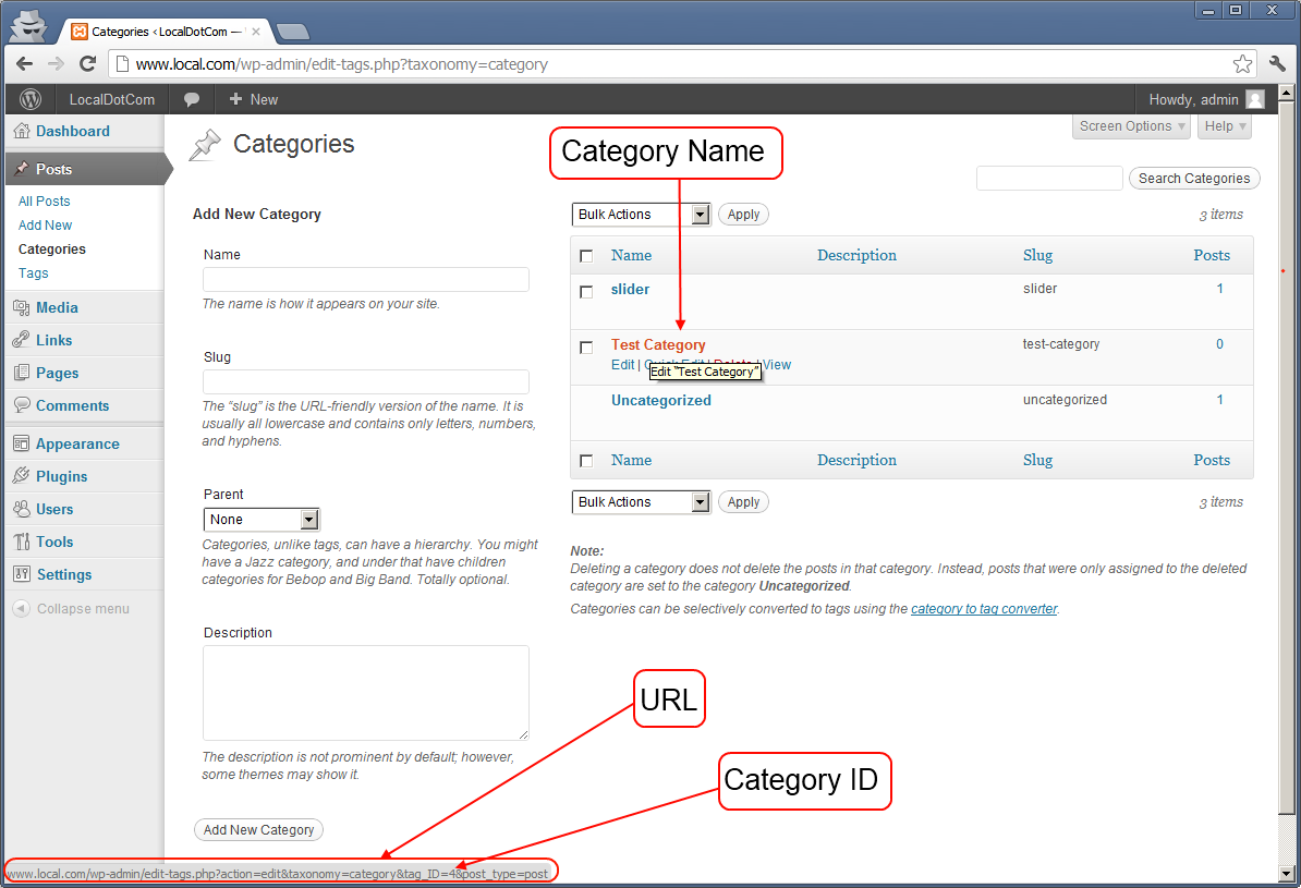 WordPress Category ID from URL in WordPress Dashboard