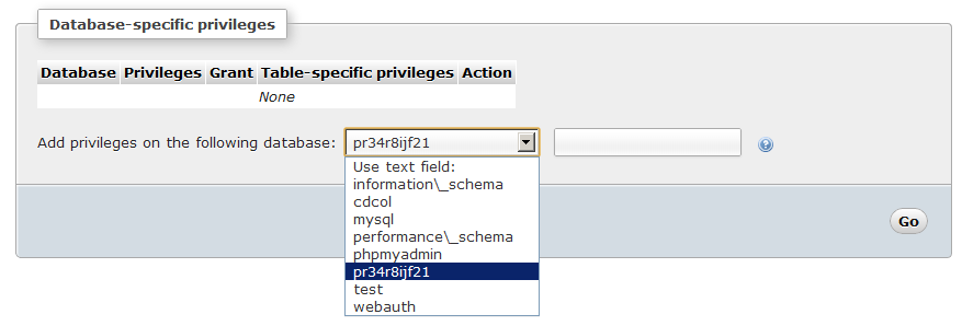 MySQL user Select database specific privileges