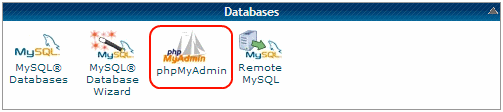 databases section in the cPanel - Select phpMyAdmin