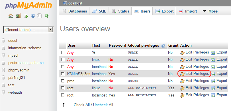 edit mysql database user privileges from phpMyAdmin