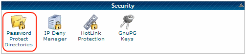 CPanel Security Section to password protect a directory