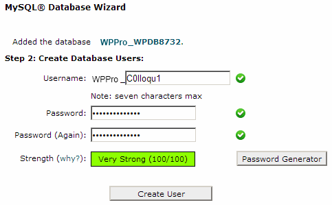Step 2 of MySQL Database Wizard in CPanel to Create a user for the WordPress MySQL database