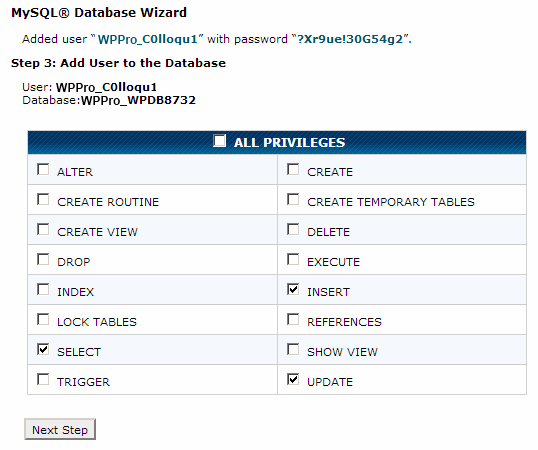 Step 3 of MySQL Database Wizard in CPanel to add user to MySQL database and assign privileges