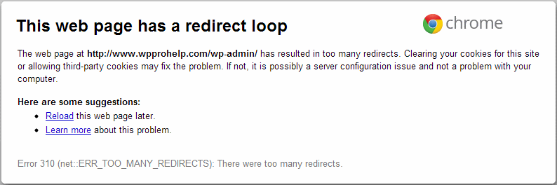 Too many redirects error in web browser