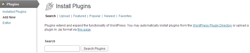 Add a new WordPress plugin using the search option in the WordPress admin panel