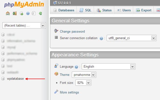 Select WordPress database from phpMyAdmin