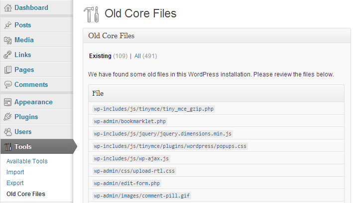 Old Core Files WordPress Security Plugin Interface