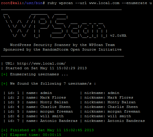 WPScan a WordPress security tool to Enumerate Users