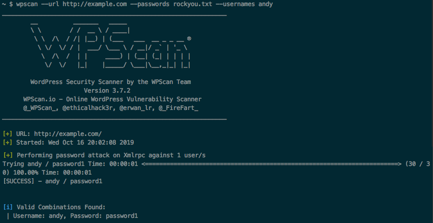 Using WPScan to test the password strength
