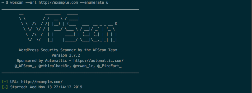 Using WPScan to launch a user enumeration attack against a WordPress website