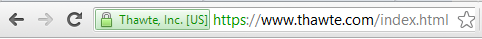 browser URL bar with verified business when using commercial SSL web server certificate
