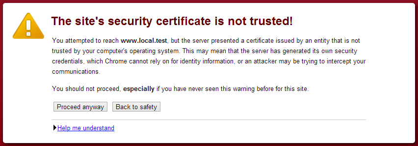 web browser warning because remote ssl website certificate is not trusted