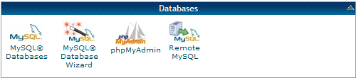 Databases tools options in hosting provider Cpanel