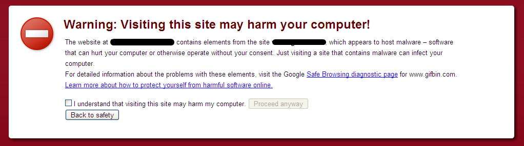 Google safe browsing alert in browser