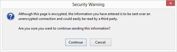 Browser security warning advising user that not all content on the WordPress site is coming from an HTTPS location