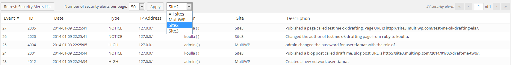 Multisite Network Administrator preselecting a site from the site drop down menu to filter security alerts and view WordPress security alerts for that site only
