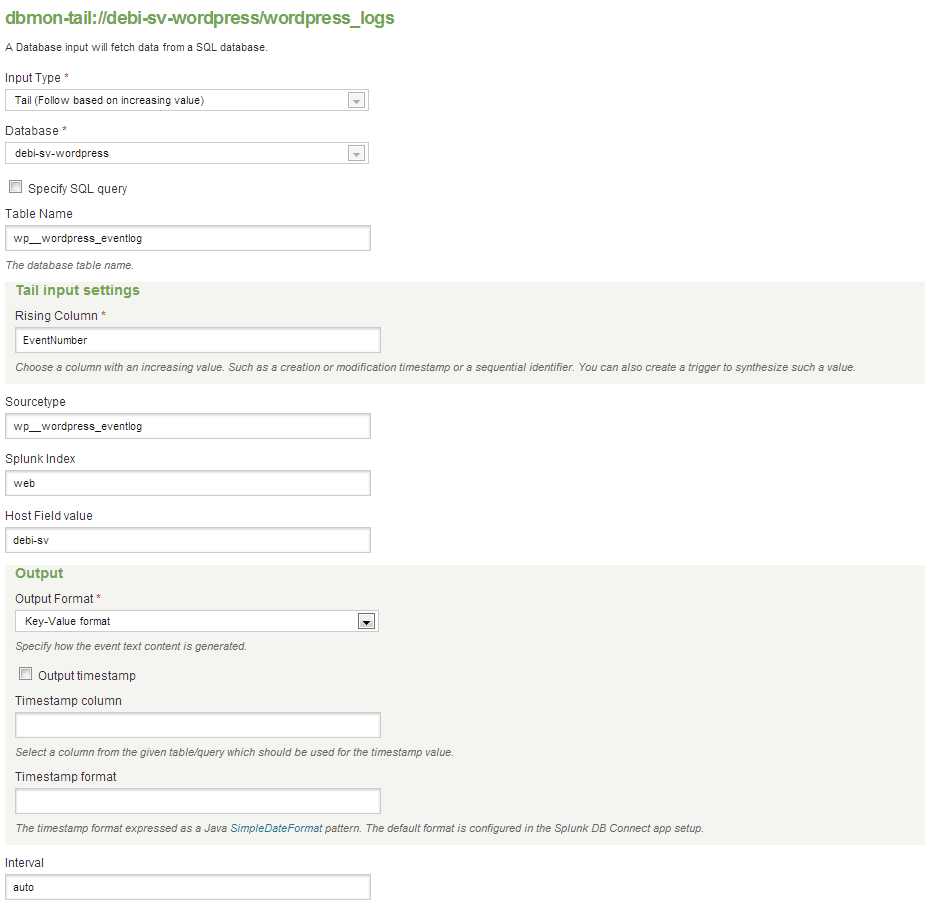 Defining the properties of the WP security Audit Log plugin and Splunk integration