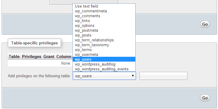 Granting privileges to a specific table in a database