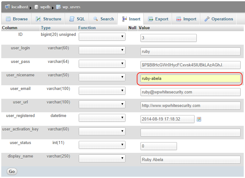 Modify the user_nicename from the WordPress database directly using phpMyAdmin
