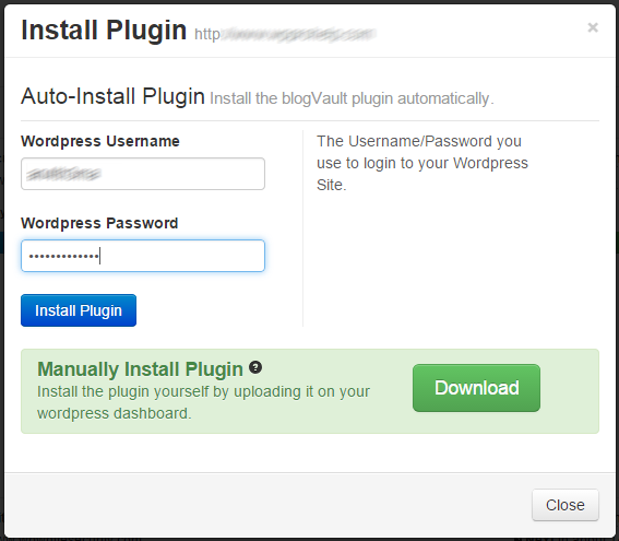 Install the blogVAULT plugin automaticatlly