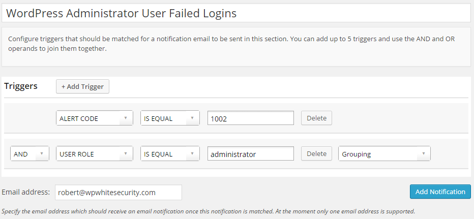 Configuring Email Notifications for Failed Logins  of WordPress Users with Administrator Role
