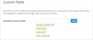 Exclude custom fields from WordPress monitoring