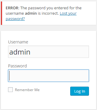 A failed WordPress login using a correct username