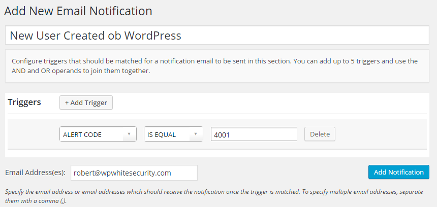 Create a new WordPress email notification for alert 4001