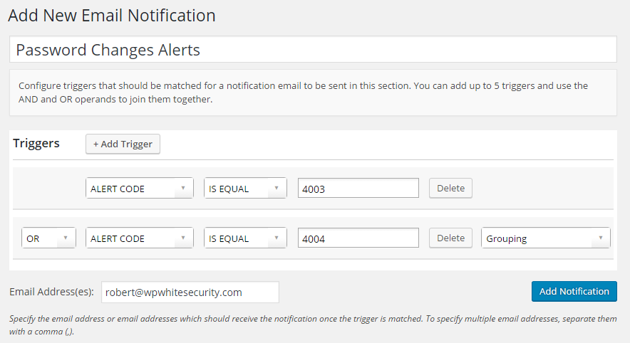 Configured trigger for WordPress users password changes