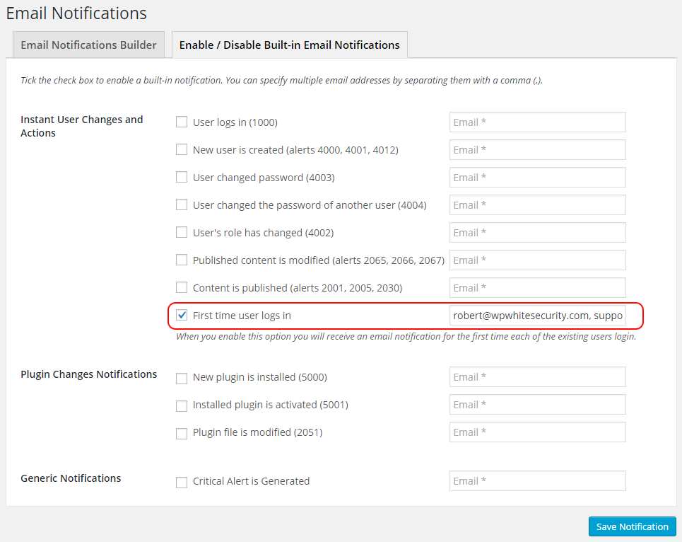 WordPress email notification for first time user login