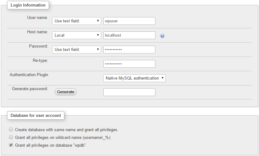 Adding a new user to the MySQL database