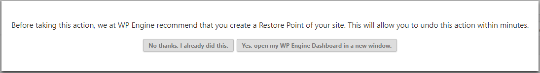 WP Engine reminder to run a website backup before updating a plugin or theme