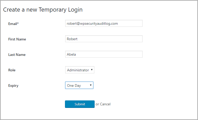 Creating a temporary WordPress user with the Temporary Login without Password