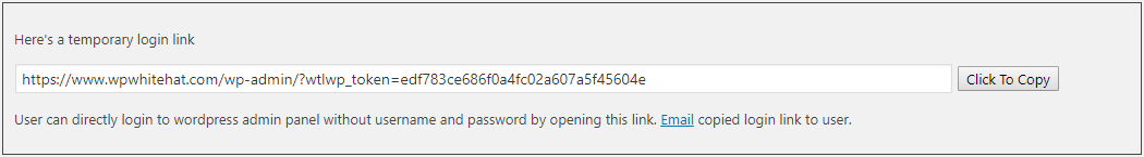 The URL for the temporary WordPress login