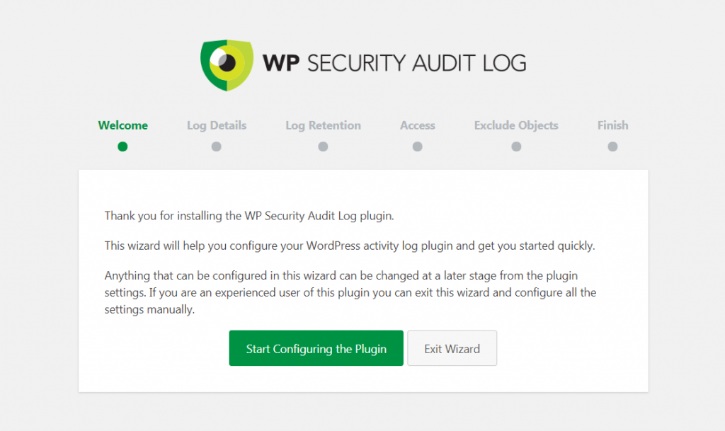 WP Security Audit Log startup wizard