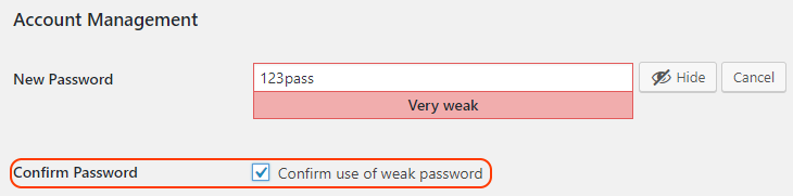 Confirm the use of a weak password in WordPress