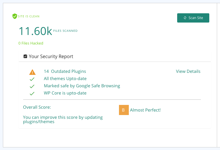 Malcare site security score card