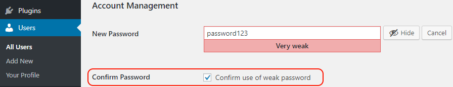 Users can easily use weak passwords in WordPress