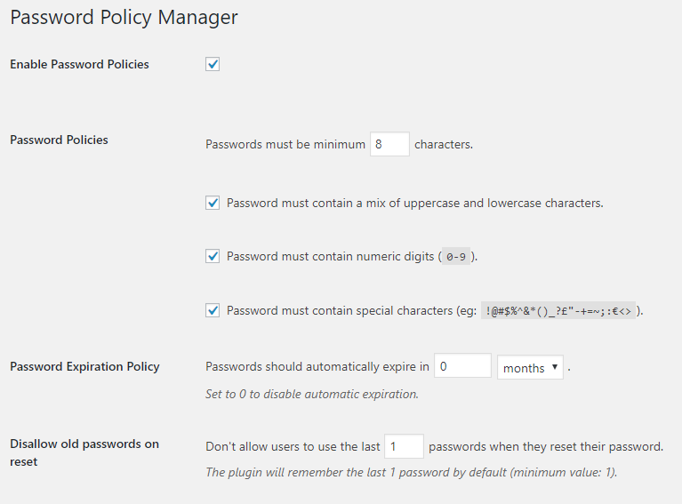 Configuring WordPress password policies in plugin