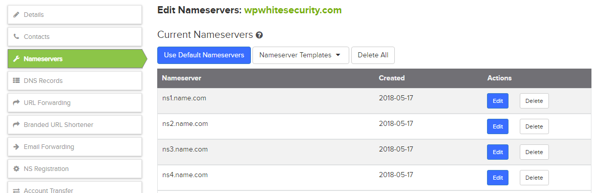 Configuring the Name Servers for your domain in your domain registrar portal