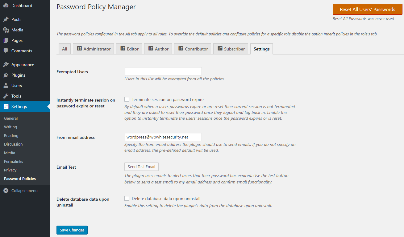 Settings for the WordPress password policy plugin
