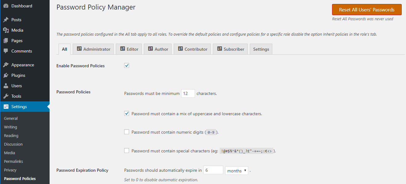 Configure different password policies for different WordPress user roles