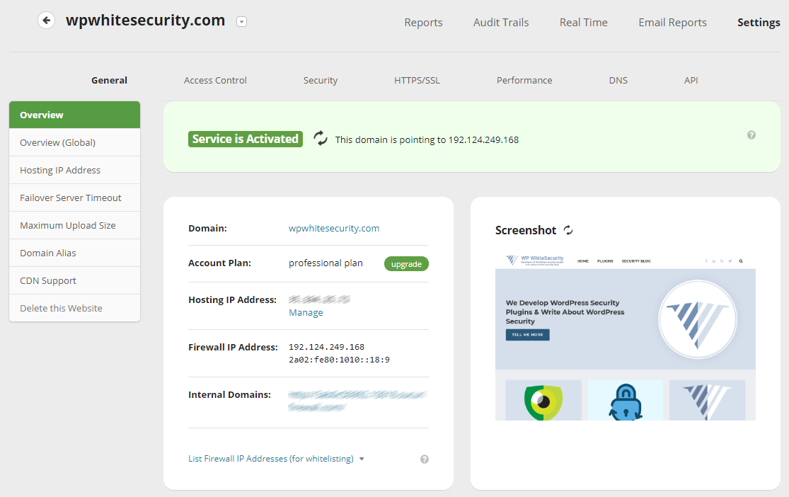 Sucuri Web Security Platform dashboard