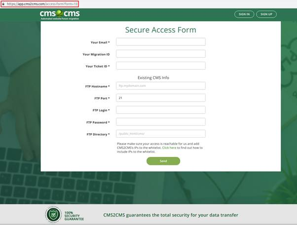 The form is hosted on HTTPS protocol