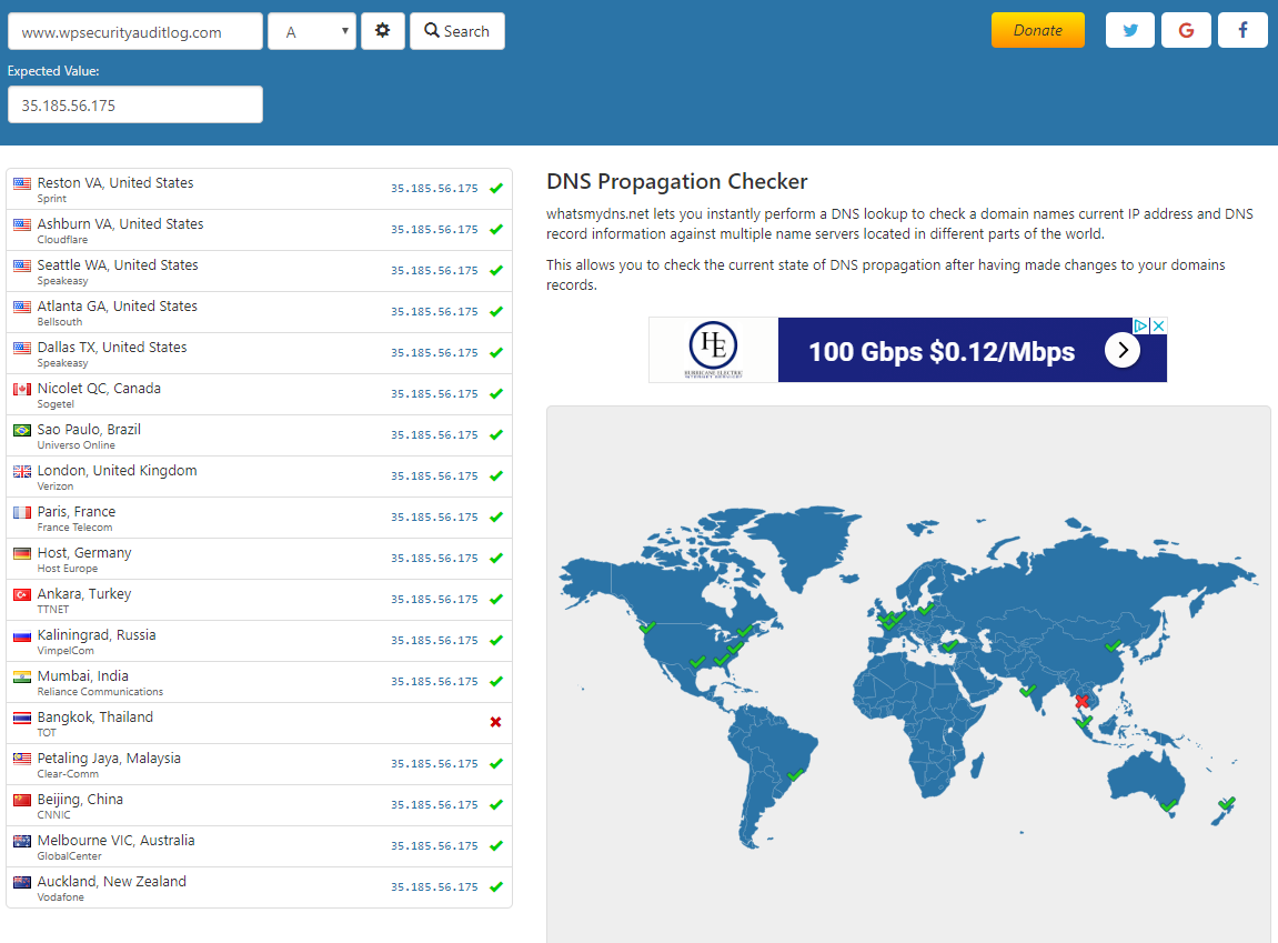 Using online tools to check the DNS propogation